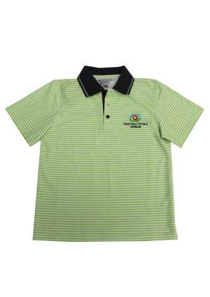 Clearview Primary Senior Striped Polo Lime/White